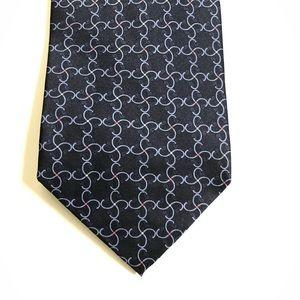 Di Moggio Tie Pure Silk Geometric Blue Handmade